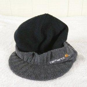 Carhartt Knit Beanie Visor Hat Black Gray Logo
